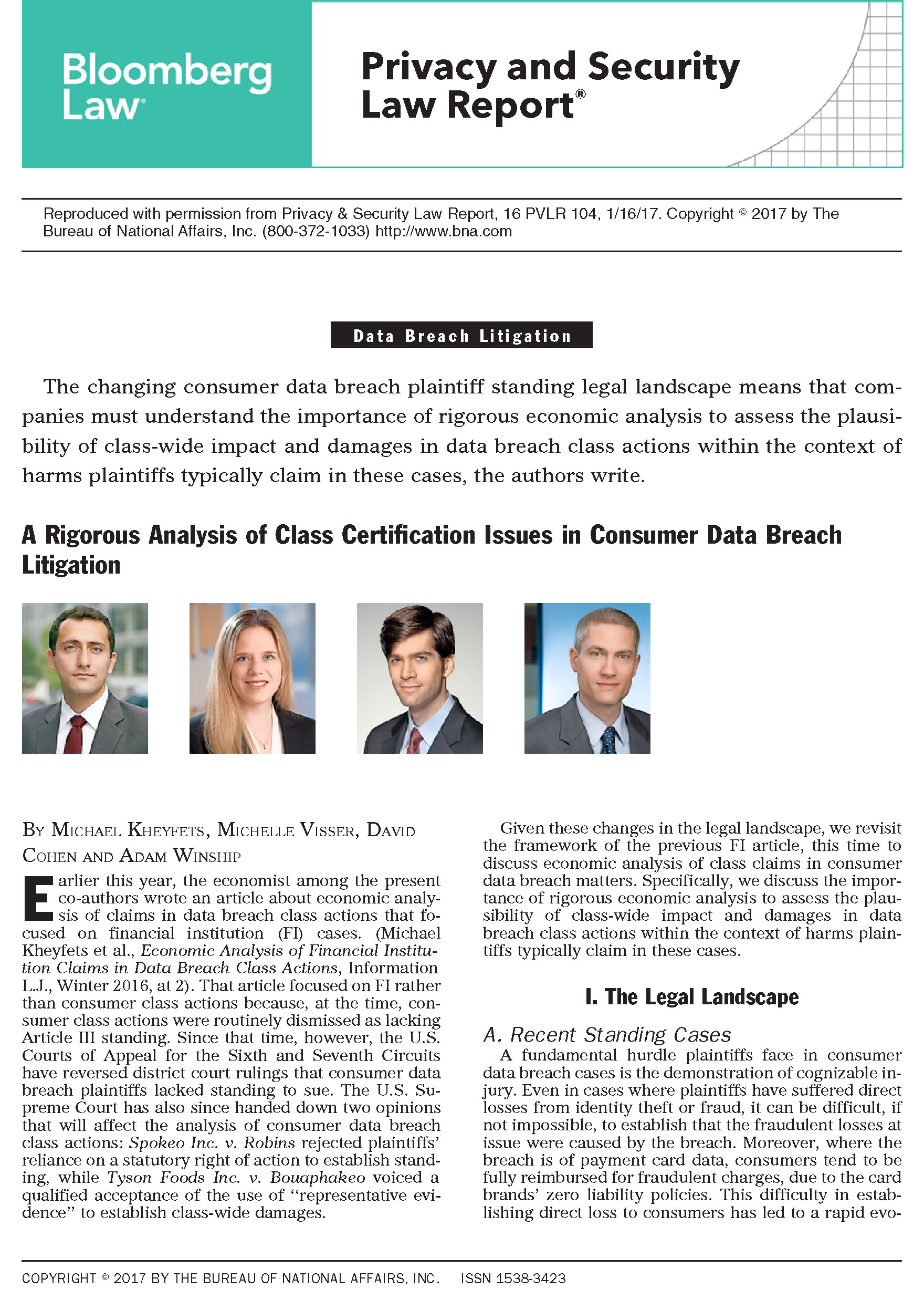 A Rigorous Analysis Of Class Certification Issues In Consumer Data
